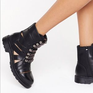 Nasty Gal Cut Out Biker Boots With Chains Size 36